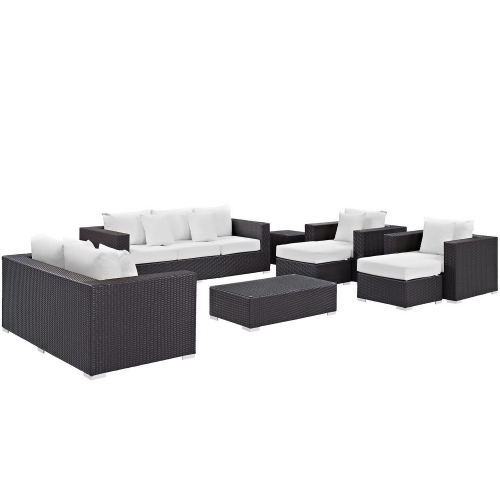 Convene 9 Piece Outdoor Patio Sofa Set - Espresso White