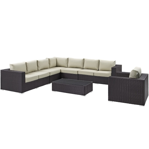 Convene 7 Piece Outdoor Patio Sectional Set - Espresso Beige