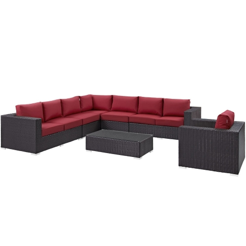 Convene 7 Piece Outdoor Patio Sectional Set - Espresso Red