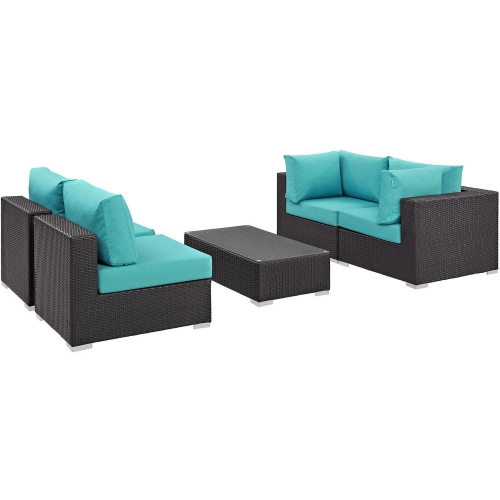 Convene 5 Piece Outdoor Patio Sectional Set - Espresso Turquoise