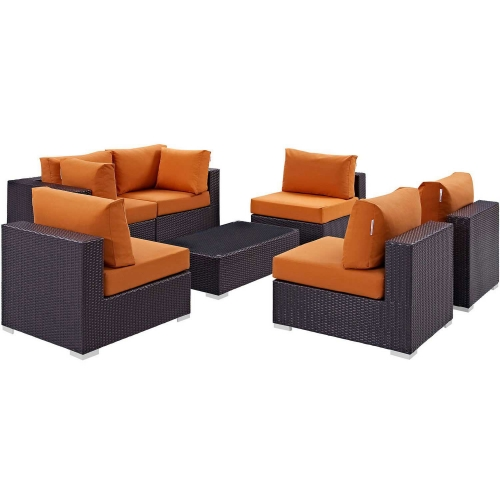 Convene 7 Piece Outdoor Patio Sectional Set - Espresso Orange