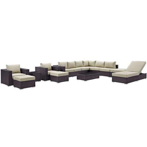 Convene 12 Piece Outdoor Patio Sectional Set - Espresso Beige