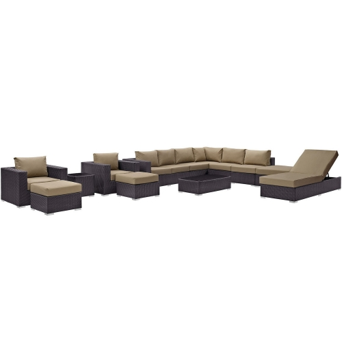 Convene 12 Piece Outdoor Patio Sectional Set - Espresso Mocha