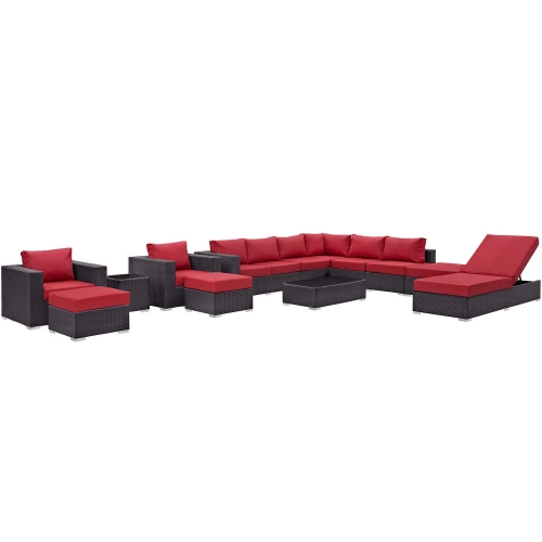 Convene 12 Piece Outdoor Patio Sectional Set - Espresso Red