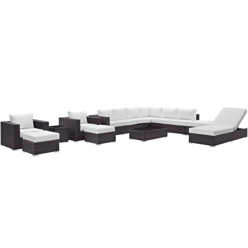 Convene 12 Piece Outdoor Patio Sectional Set - Espresso White