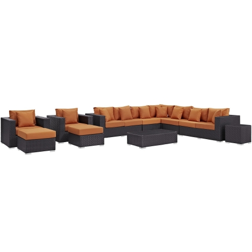 Convene 11 Piece Outdoor Patio Sectional Set - Espresso Orange