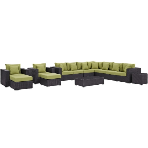 Convene 11 Piece Outdoor Patio Sectional Set - Espresso Peridot