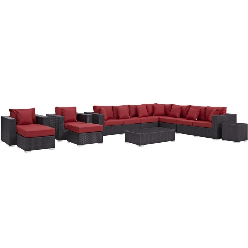 Convene 11 Piece Outdoor Patio Sectional Set - Espresso Red