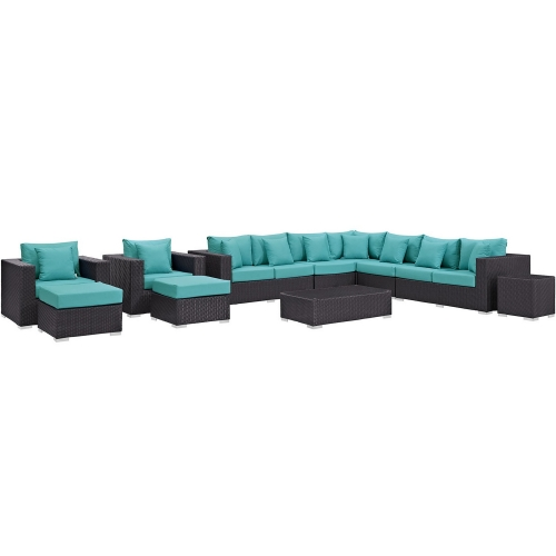 Convene 11 Piece Outdoor Patio Sectional Set - Espresso Turquoise