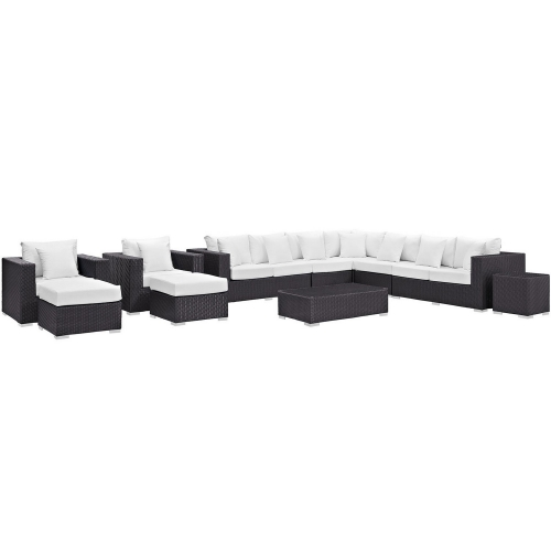 Convene 11 Piece Outdoor Patio Sectional Set - Espresso White