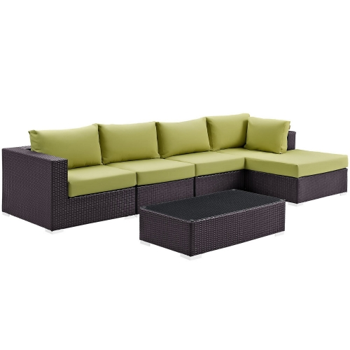 Convene 5 Piece Outdoor Patio Sectional Set - Espresso Peridot