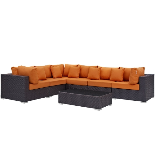 Modway Convene 7 Piece Outdoor Patio Sectional Set - Expresso Orange