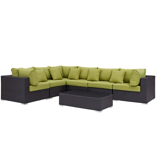 Modway Convene 7 Piece Outdoor Patio Sectional Set - Expresso Peridot
