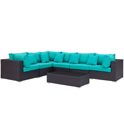 Convene 7 Piece Outdoor Patio Sectional Set - Expresso Turquoise