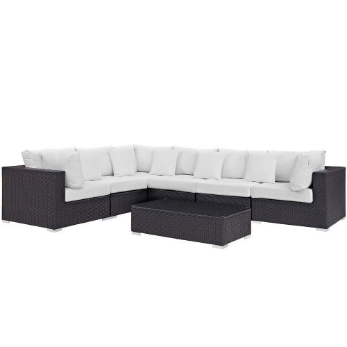 Convene 7 Piece Outdoor Patio Sectional Set - Espresso White