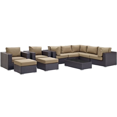 Convene 10 Piece Outdoor Patio Sectional Set - Espresso Mocha