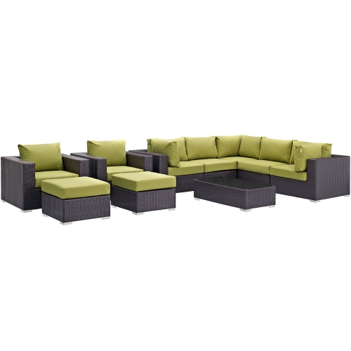 Convene 10 Piece Outdoor Patio Sectional Set - Espresso Peridot