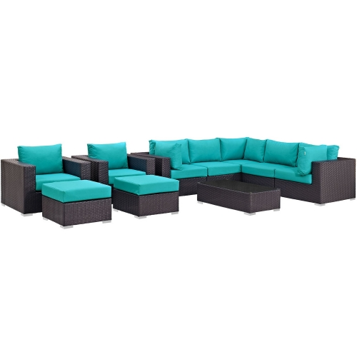 Convene 10 Piece Outdoor Patio Sectional Set - Espresso Turquoise