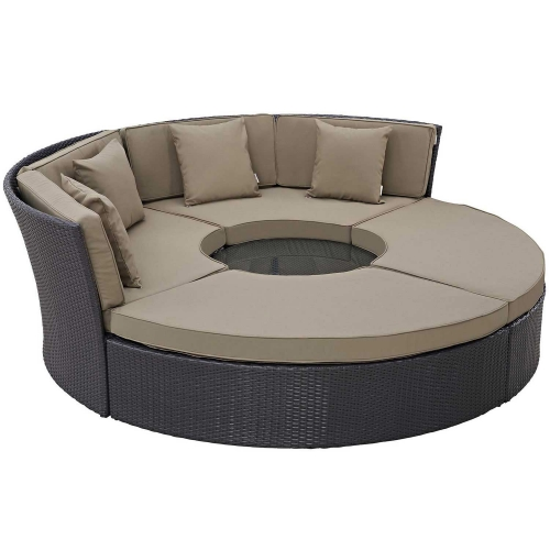 Convene Circular Outdoor Patio Daybed Set - Espresso Mocha