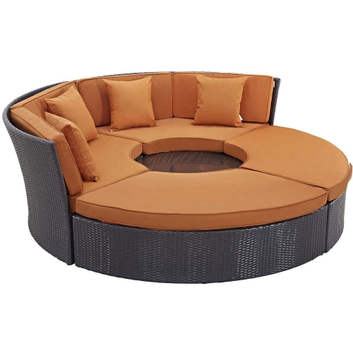 Convene Circular Outdoor Patio Daybed Set - Espresso Orange