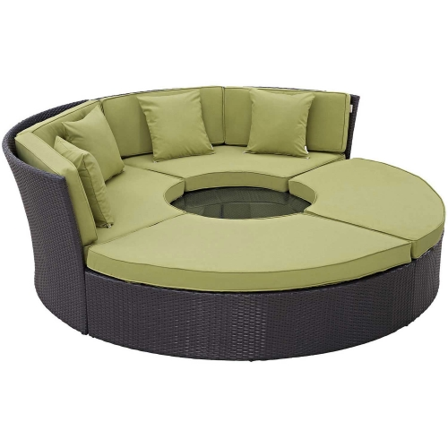 Convene Circular Outdoor Patio Daybed Set - Espresso Peridot