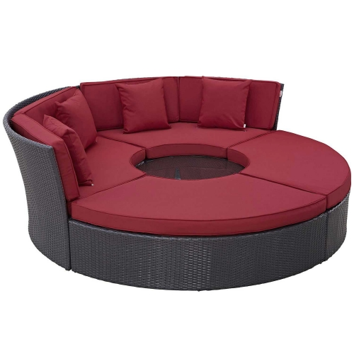 Convene Circular Outdoor Patio Daybed Set - Espresso Red