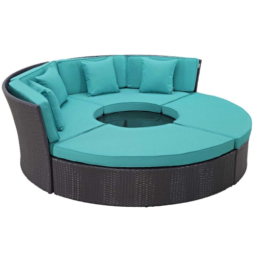 Convene Circular Outdoor Patio Daybed Set - Espresso Turquoise