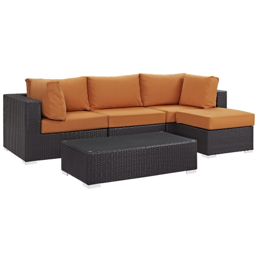 Convene 5 Piece Outdoor Patio Sectional Set - Espresso Orange