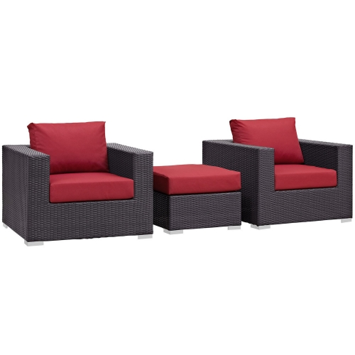 Convene 3 Piece Outdoor Patio Sofa Set - Espresso Red