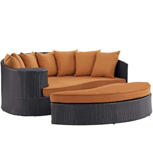 Convene Outdoor Patio Daybed - Espresso Orange