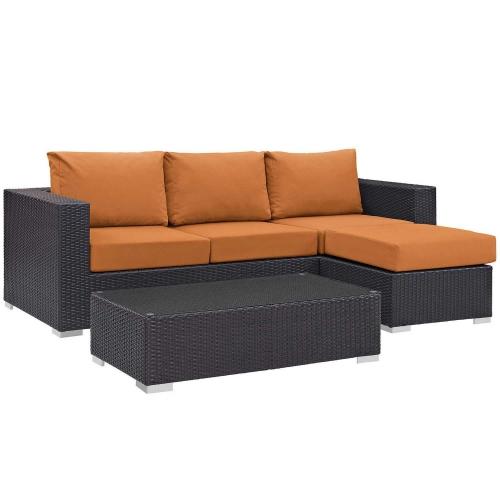 Convene 3 Piece Outdoor Patio Sofa Set - Espresso Orange
