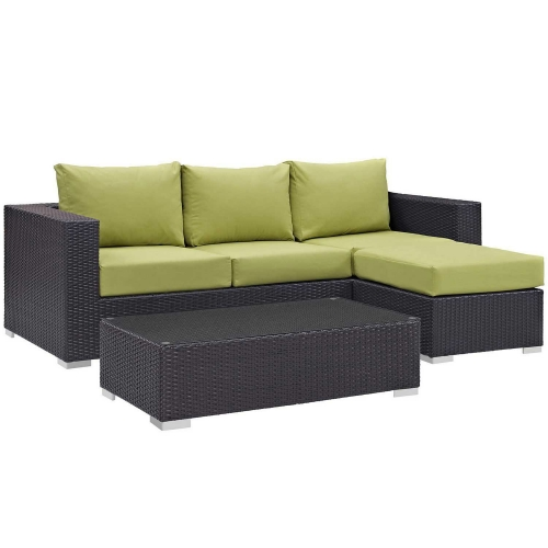 Convene 3 Piece Outdoor Patio Sofa Set - Espresso Peridot