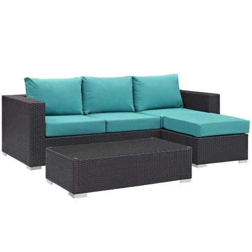 Convene 3 Piece Outdoor Patio Sofa Set - Espresso Turquoise