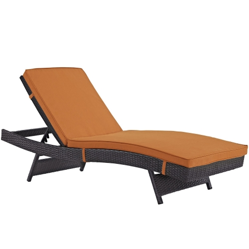 Convene Outdoor Patio Chaise - Espresso Orange