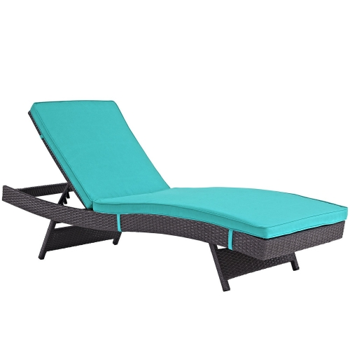 Convene Outdoor Patio Chaise - Espresso Turquoise