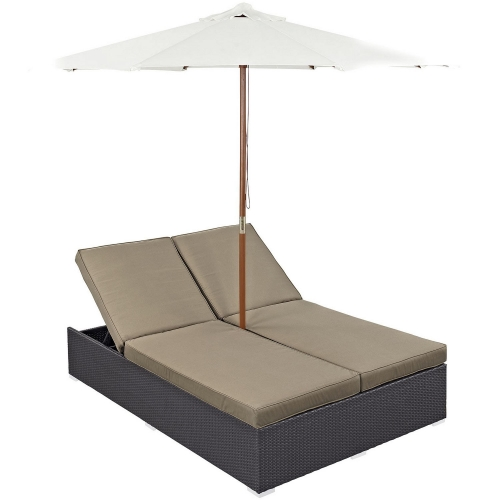 Convene Double Outdoor Patio Chaise - Espresso Mocha