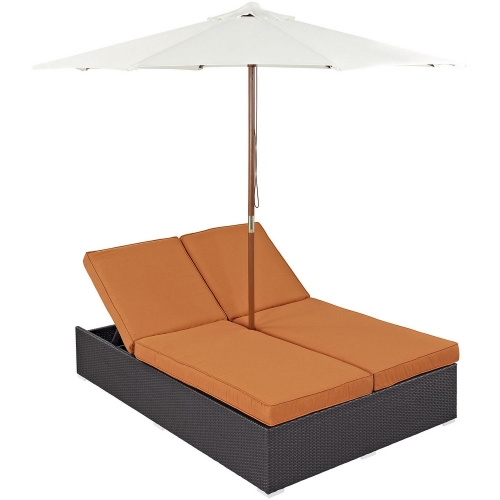 Convene Double Outdoor Patio Chaise - Espresso Orange