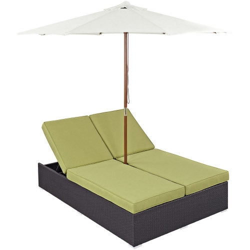 Convene Double Outdoor Patio Chaise - Espresso Peridot