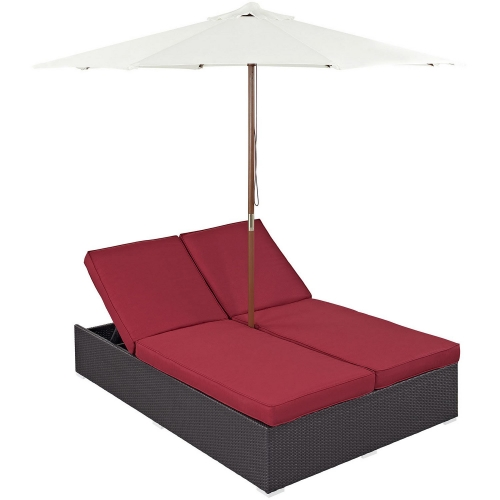 Convene Double Outdoor Patio Chaise - Espresso Red