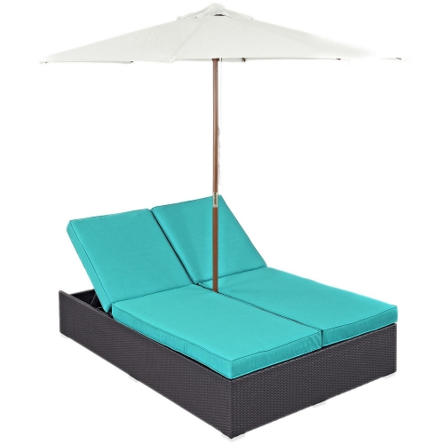 Convene Double Outdoor Patio Chaise - Espresso Turquoise