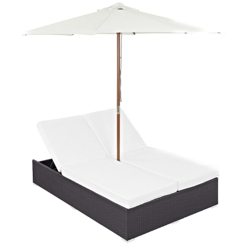 Convene Double Outdoor Patio Chaise - Espresso White