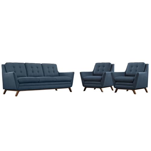 Beguile 3 Piece Fabric Living Room Set - Azure
