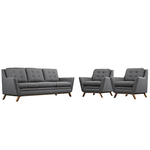 Beguile 3 Piece Fabric Living Room Set - Gray