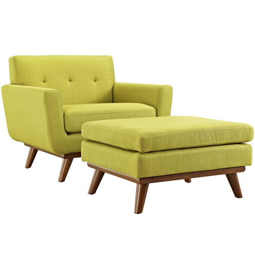 Engage 2 Piece Chair and Ottoman - Wheatgrass