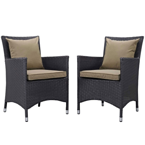 Convene 2 Piece Outdoor Patio Dining Set - Espresso Mocha