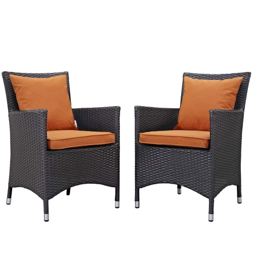 Convene 2 Piece Outdoor Patio Dining Set - Espresso Orange