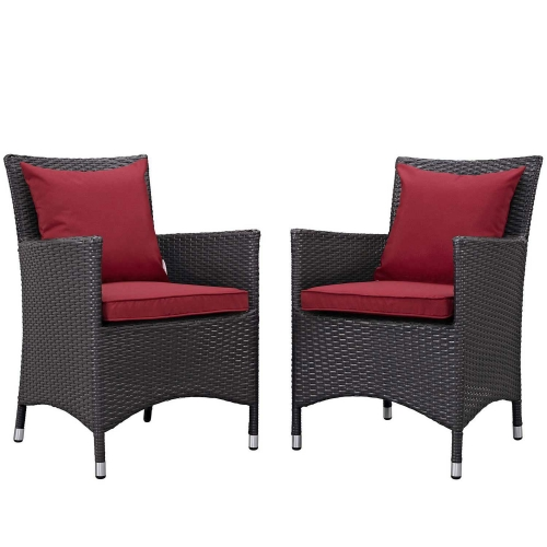 Convene 2 Piece Outdoor Patio Dining Set - Espresso Red