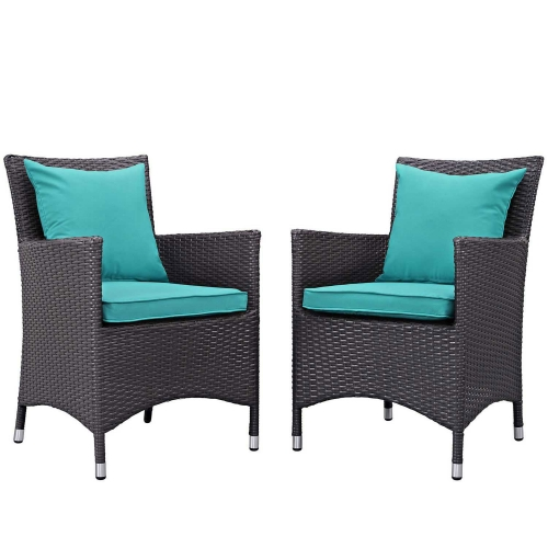 Convene 2 Piece Outdoor Patio Dining Set - Espresso Turquoise