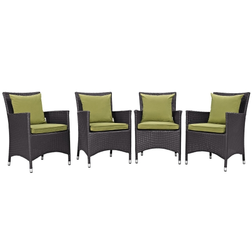 Convene 4 Piece Outdoor Patio Dining Set - Espresso Peridot