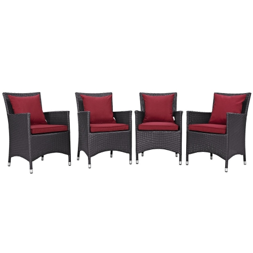 Convene 4 Piece Outdoor Patio Dining Set - Espresso Red